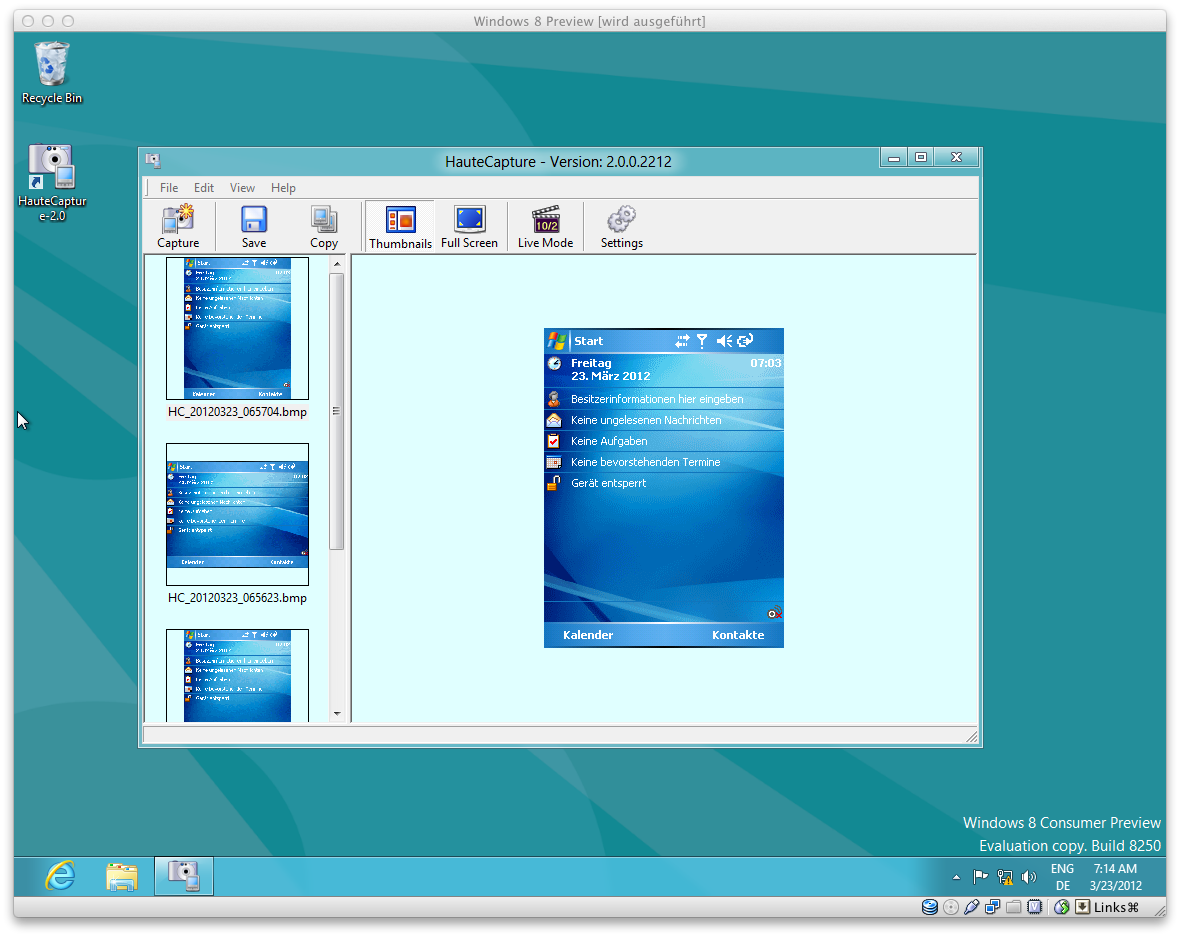 HauteCapture running on Windows 8 Consumer Preview