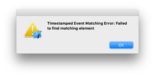 Error message: Timestamped Event Matching Error